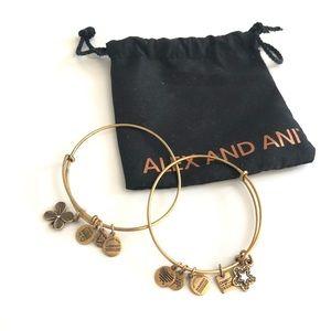 ALEX AND ANI gold star clover leaf bracelet set